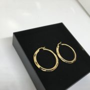 9 carat yellow gold diamond cut patterned hoops