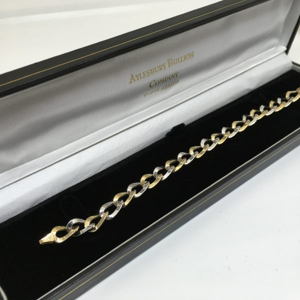 9 carat 2 colour linked bracelet