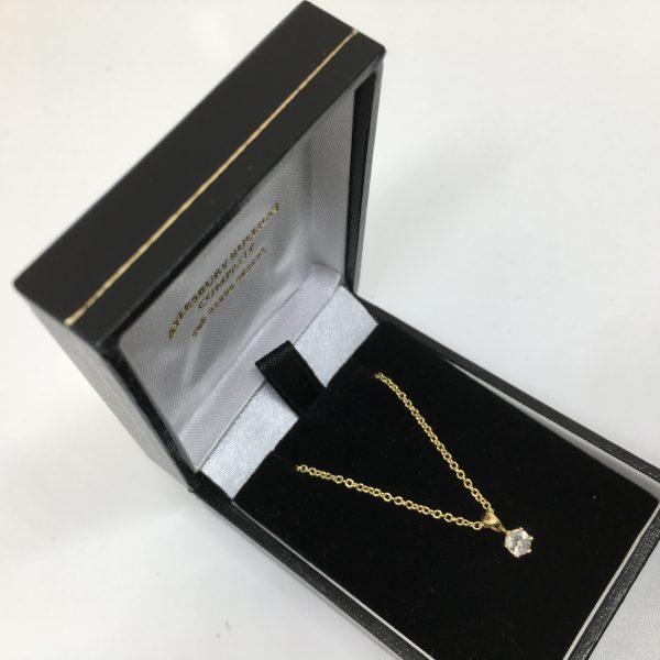18 carat yellow gold diamond pendant and chain