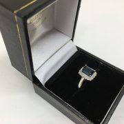 9 carat white gold blue topaz and diamond ring