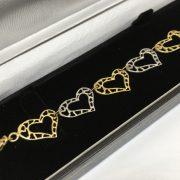 9 carat 2 colour heart bracelet