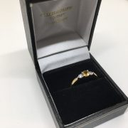 9 carat yellow gold citrine and CZ 3 stone ring