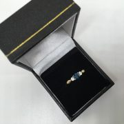9 carat yellow gold London blue topaz and CZ 3 stone ring