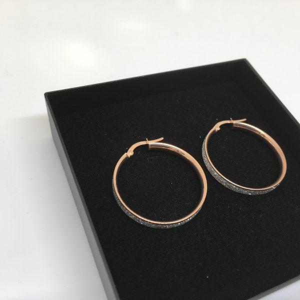 9 carat rose gold sparkley hoops