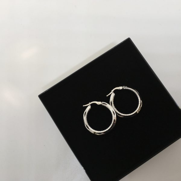 9 carat white gold diamond cut patterned hoops