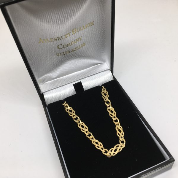 9 carat yellow gold Celtic curb chain