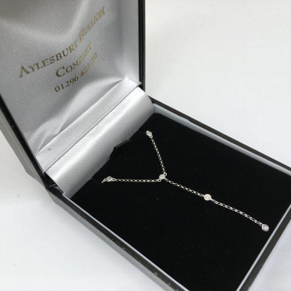 9 carat white gold diamond drop necklace