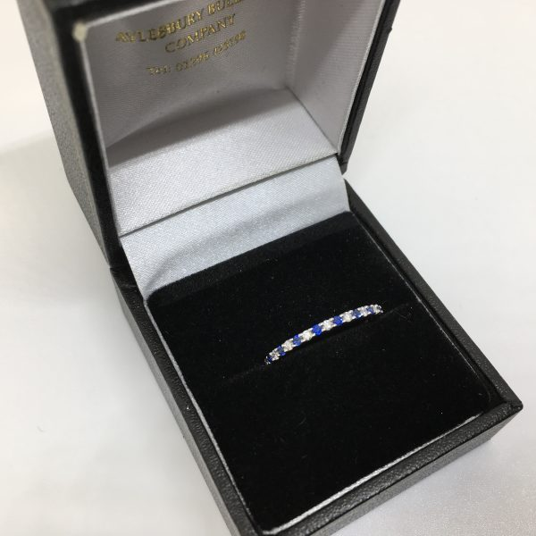 9 carat white gold sapphire and diamond 1/2 eternity ring