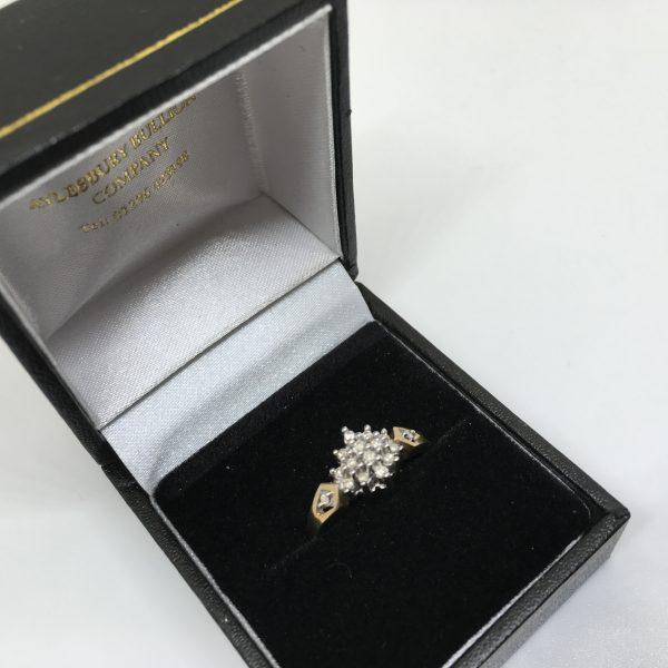 9 carat yellow gold diamond cluster
