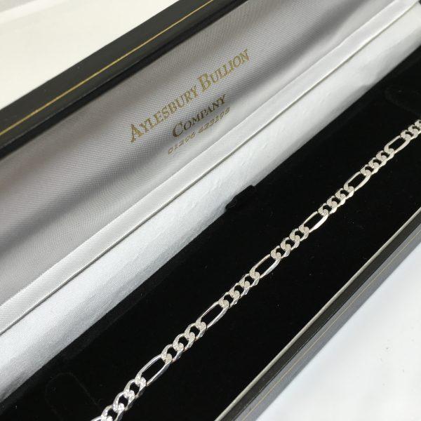 9 carat white gold diamond cut figaro bracelet