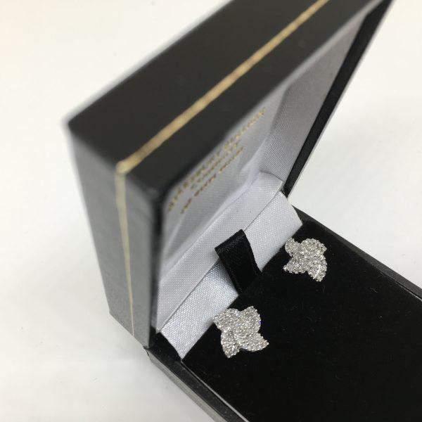 9 carat white gold diamond earrings