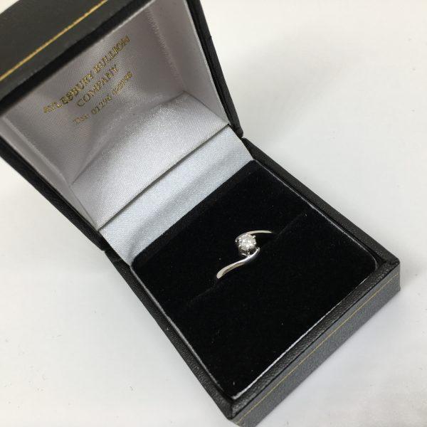 9 carat white gold single stone