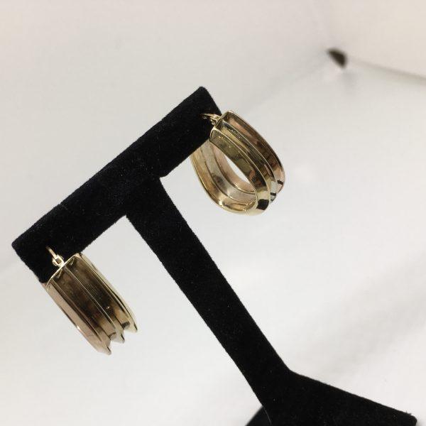 9 carat 3 colour hoop earrings