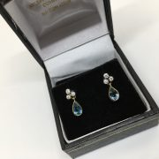 18 carat 2 colour aqua marine and diamond earrings