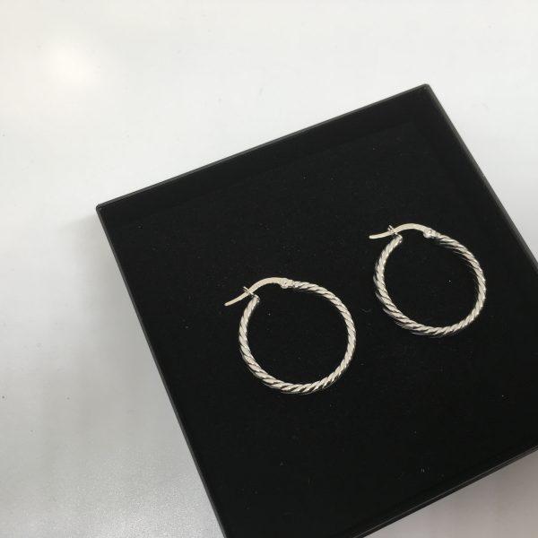 9 carat white gold twist hoops