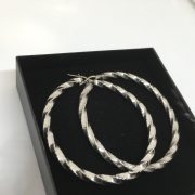 9 carat white gold twist hoops