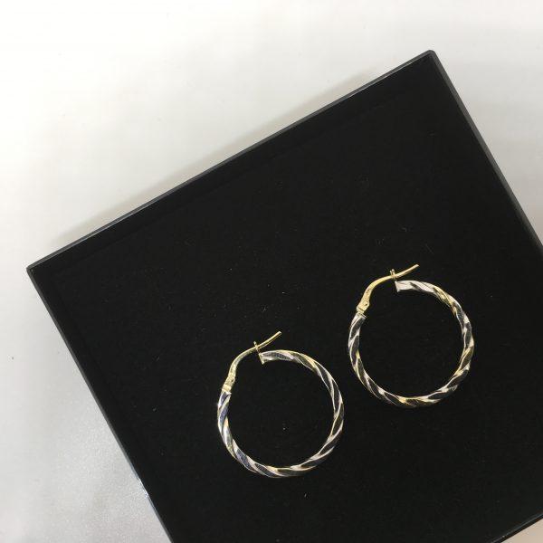 9 carat 2 colour twist hoops