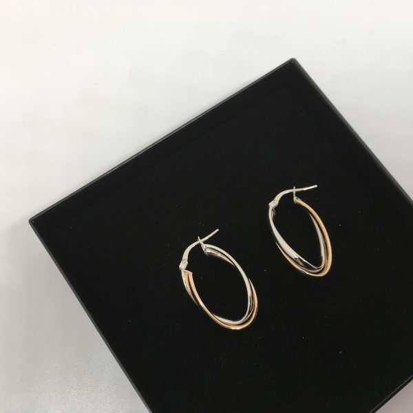 9 carat 2 colour gold hoops