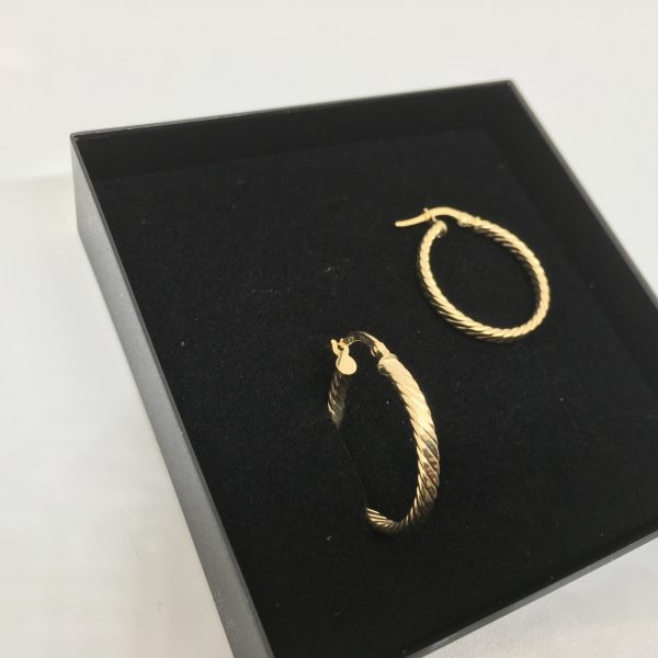 9 carat yellow gold twist hoops
