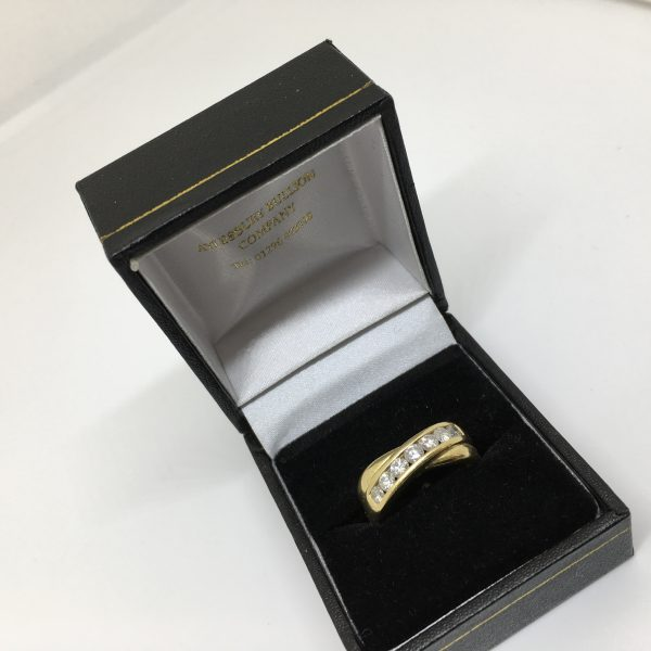 Preowned 18 carat yellow gold diamond crossover ring