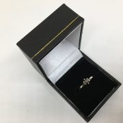Preowned 18 carat white gold black diamond single stone ring