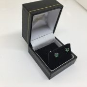 18 carat white gold emerald stud earrings
