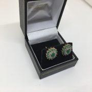 9 carat yellow gold emerald and diamond earrings