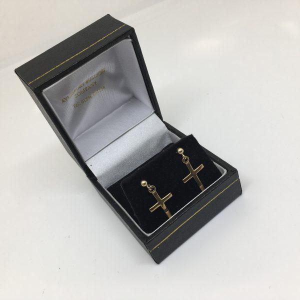 9 carat yellow gold cross drop earrings