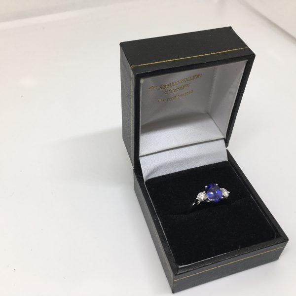 18 carat white gold tanzanite and diamond ring