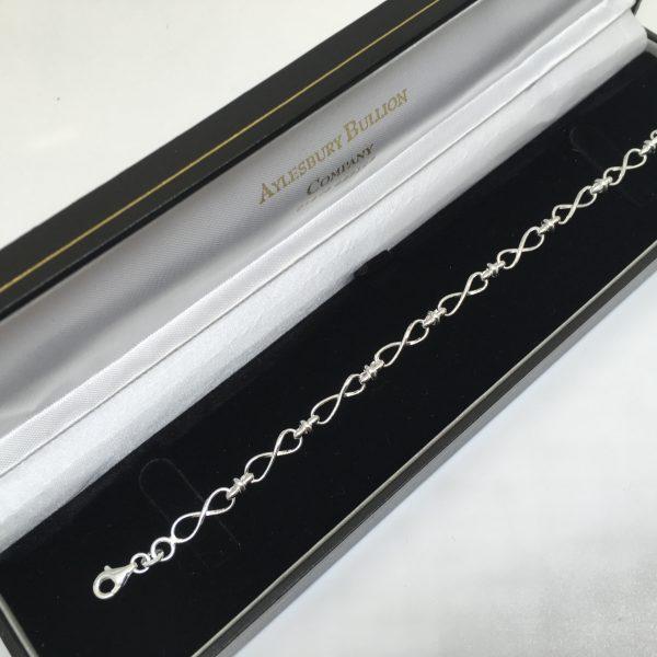Silver infinity linked bracelet