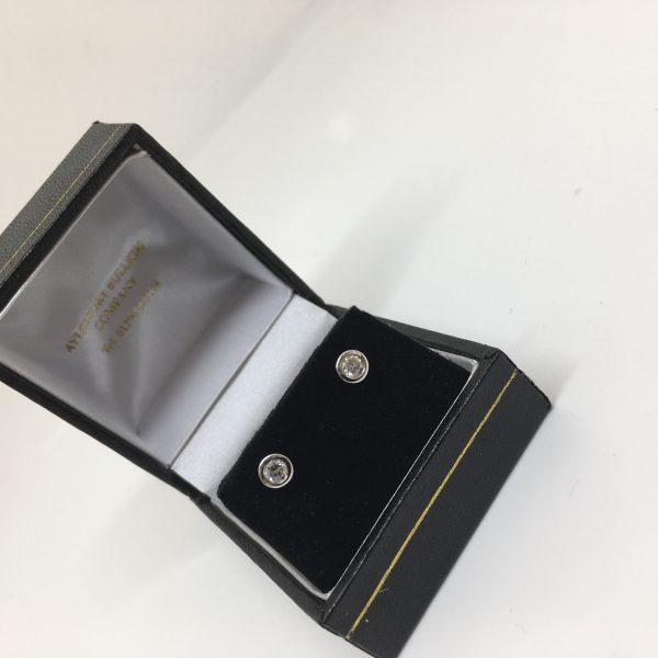 18 carat white gold single stone diamond earrings