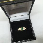 14 carat yellow gold emerald and diamond ring