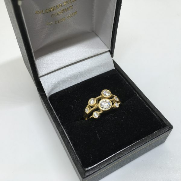 18 carat yellow gold diamond scatter ring