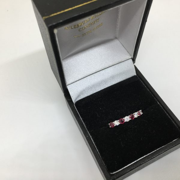 18 carat white gold ruby and diamond band/ eternity ring