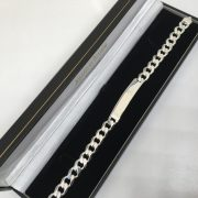 Silver flat curb ID bracelet