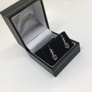 9 carat white gold pink tourmaline and diamond drop earrings