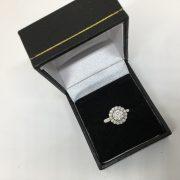 18 carat white gold diamond halo ring