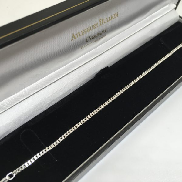Silver flat curb bracelet