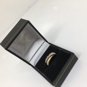 18 carat 2 colour gold diamond twist ring