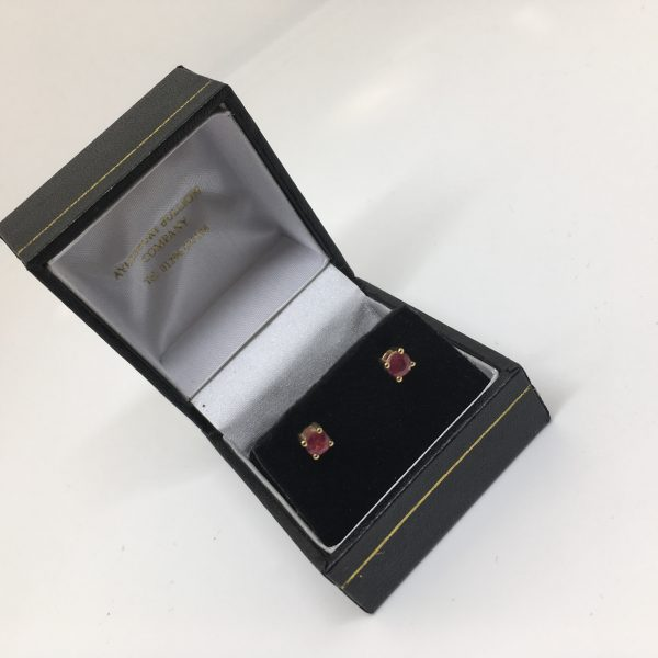 18 carat yellow gold ruby stud earrings