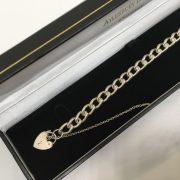 Silver charm bracelet- large link