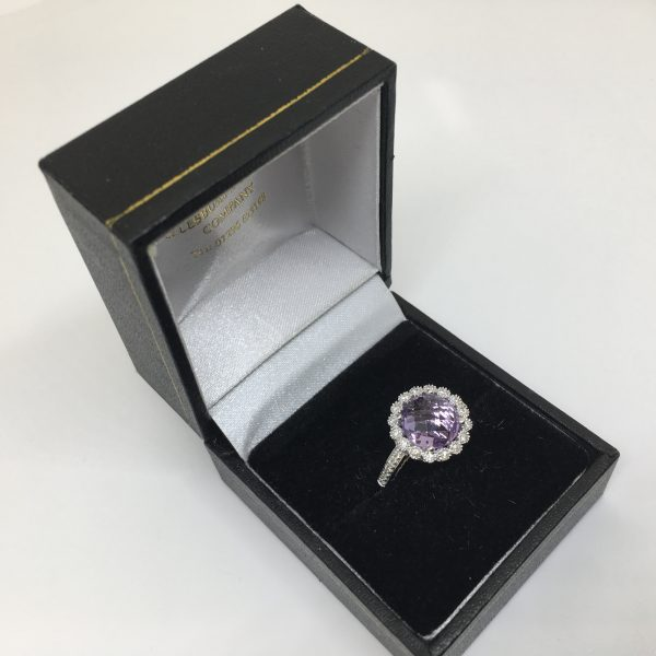 18 carat white gold amethyst and diamond ring
