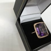 Preowned 18 carat rose gold amethyst and diamond ring