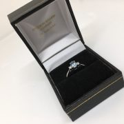 18 carat white gold aqua marine and diamond ring