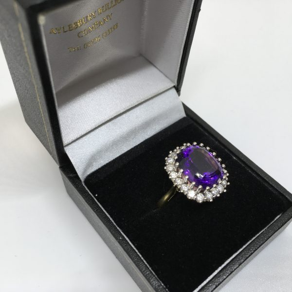 Preowned 18 carat yellow gold amethyst Andy diamond ring