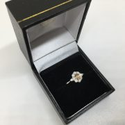18 carat white gold yellow sapphire and diamond cluster ring