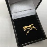 18 carat yellow gold diamond scatter ring