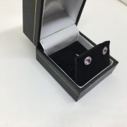 18 carat white gold pink sapphire and diamond earrings
