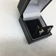 9 carat yellow gold diamond cross earrings
