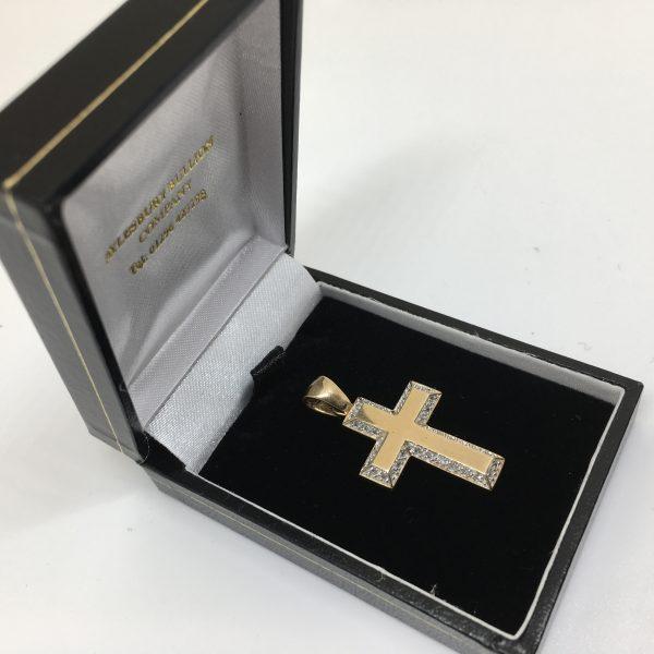 9 carat 2 colour diamond cross